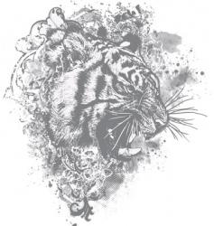 grunge tiger floral vector image