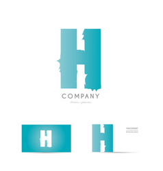 h blue letter alphabet logo icon design vector image