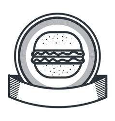 Hamburger restaurant emblem icon vector
