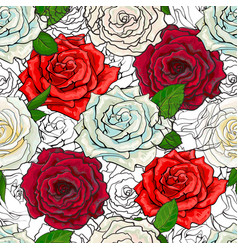 hand drawn rose seamless pattern vector image