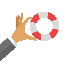 hand holding life preserver icon vector image