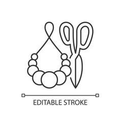Handmade pom pom jewelry linear icon vector