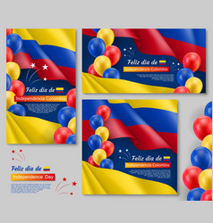 Happy colombian independence day posters set vector
