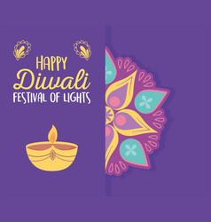 happy diwali festival floral mandala candle light vector image