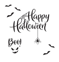 Happy halloween and boo typography vector