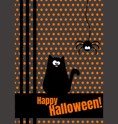 happy halloween greeting card with hanging on dash vector image