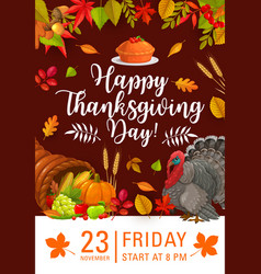 happy thanksgiving day flyer invitation vector image