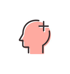 Head aid flat outline icon vector