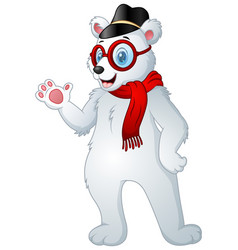 hipster polar bear in scarf with cap and glasses vector image