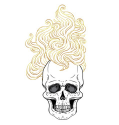 human skull with fire or hair demon fairy tale vector image