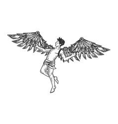 icarus greek mythology engraving vector image