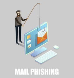isometric cyber thief stealing email message from vector image