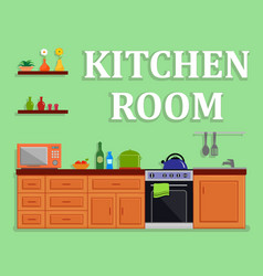 Kitchen room isolated interior vector