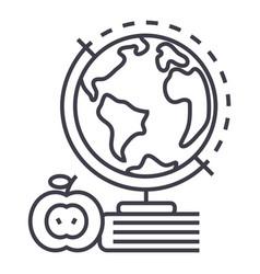 Knowledgebookappleglobus line icon sign vector