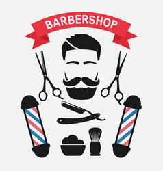 male face with barbershop tools vector image