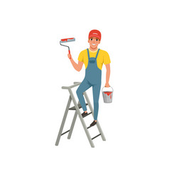 Male painter with roller in hand standing on step vector