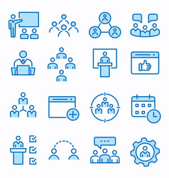 Management consulting flat line icon set vector