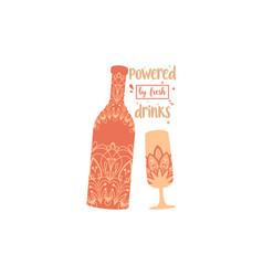 Mandala elegant design for bottle beer vector