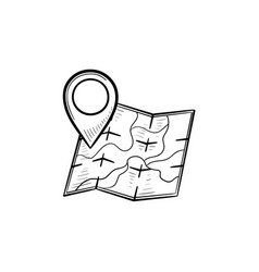 map with location pin hand drawn outline doodle vector image