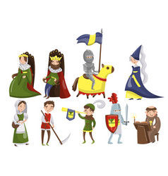 Medieval people set characters of middle ages vector