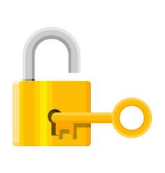 Metal padlock with key pad lock with keyring vector