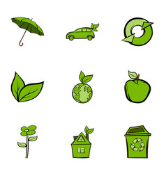 nature protection icons set cartoon style vector image