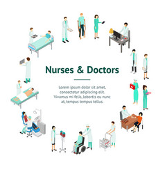 nurses attending patients banner card circle vector image