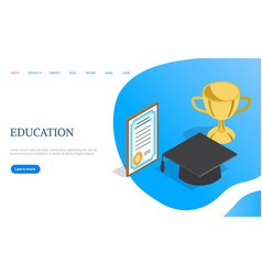 online education page certificate and gold cup vector image