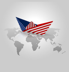 origami paper with usa flag vector image