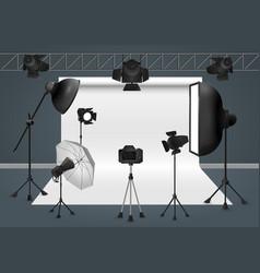 photo studio with camera lighting equipment flash vector image