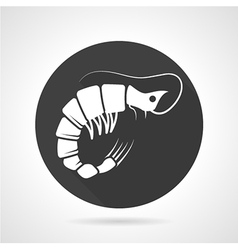 Prawn black round icon vector