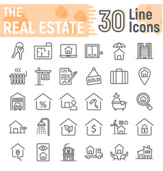real estate line icon set home symbols collection vector image