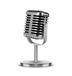 realistic 3d silver metal retro microphone on leg vector image