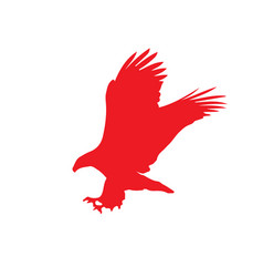 Red silhouette of eagle isolated on white vector