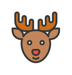 reindeer merry christmas theme set filled outline vector image