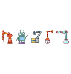 robot icon set cartoon style vector image