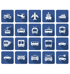 rounded square icons set some transport vector image