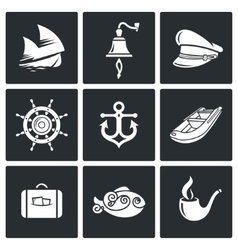 Sea voyage the captain Icons Set vector image