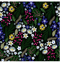 Seamless floral pattern with cute small ditsy vector