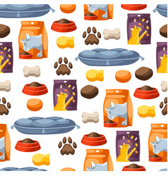 seamless pattern with various cat items vector image