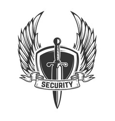security winged shield with sword design element vector image
