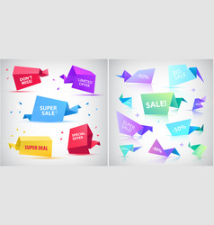 Set of 3d origami faceted bubbles banners vector