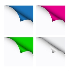 Set of four color curled corners vector image