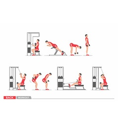 Set of workout for back vector