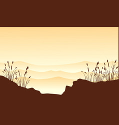 Silhouette of desert with course grass landscape vector