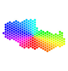Spectrum hexagon tibet chinese territory map vector