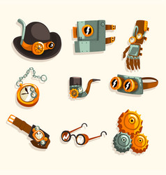 Steampunk objects set antique mechanical devices vector
