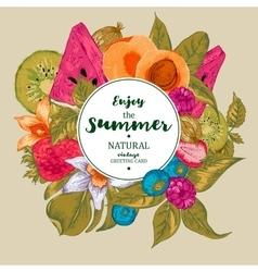 Summer exotic menu fruits card vector
