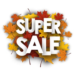 Super sale background with maple leaves vector image