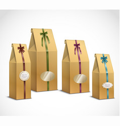 Tea paper packaging realistic set vector